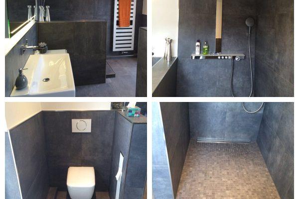 Badezimmer Dusche Badewanne Fliesen modern